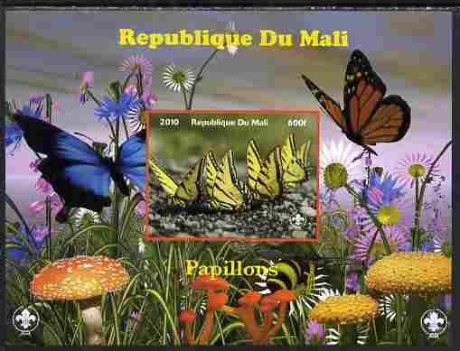 Mali 2010 Butterfles #5 imperf s/sheet with Fungi & Scouts Logo unmounted mint. Note this item is privately produced and is offered purely on its thematic appeal