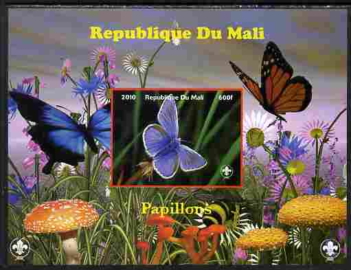 Mali 2010 Butterfles #7 imperf s/sheet with Fungi & Scouts Logo unmounted mint. Note this item is privately produced and is offered purely on its thematic appeal