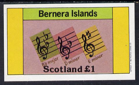 Bernera 1982 Musical Notes imperf souvenir sheet (�1 value) unmounted mint