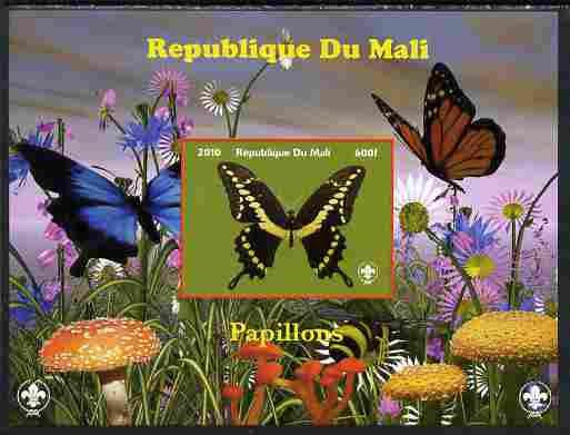 Mali 2010 Butterfles #8 imperf s/sheet with Fungi & Scouts Logo unmounted mint. Note this item is privately produced and is offered purely on its thematic appeal