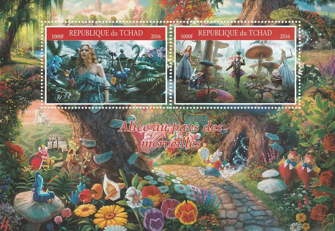 Chad 2016 Alice in Wonderland perf sheetlet containing 2 values unmounted mint. Note this item is privately produced and is offered purely on its thematic appeal. .