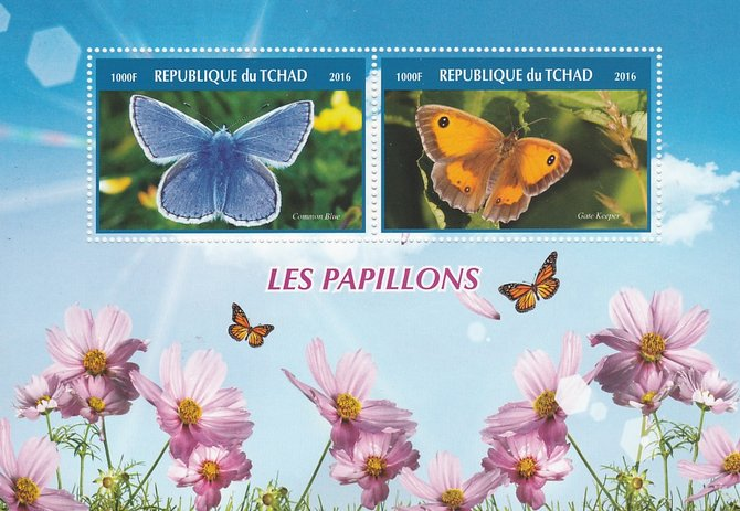 Chad 2016 Butterflies #1 perf sheetlet containing 2 values unmounted mint. Note this item is privately produced and is offered purely on its thematic appeal. .