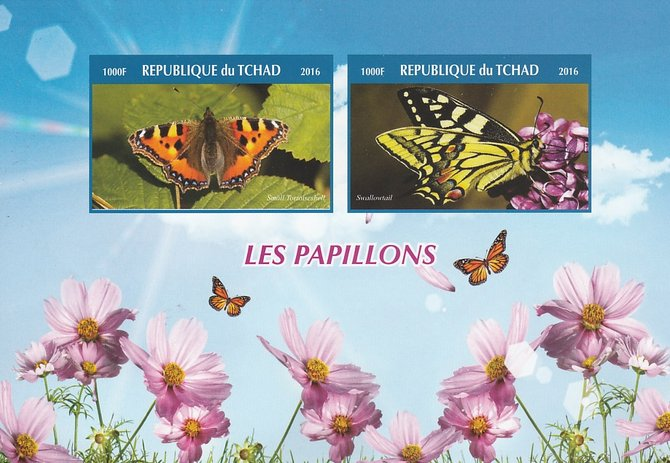 Chad 2016 Butterflies #2 imperf sheetlet containing 2 values unmounted mint. Note this item is privately produced and is offered purely on its thematic appeal. .