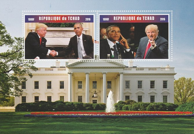 Chad 2016 Donald Trump & Barack Obama perf sheetlet containing 2 values unmounted mint. Note this item is privately produced and is offered purely on its thematic appeal. . , stamps on personalities, stamps on usa presidents, stamps on obama, stamps on trump