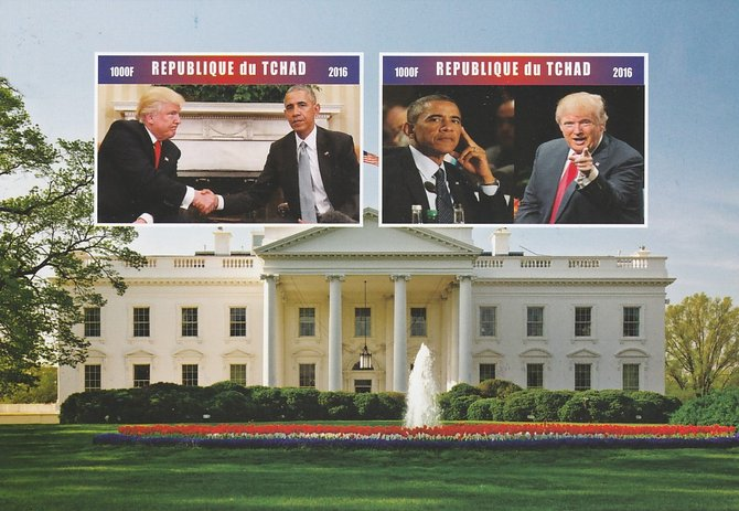 Chad 2016 Donald Trump & Barack Obama imperf sheetlet containing 2 values unmounted mint. Note this item is privately produced and is offered purely on its thematic appeal. .