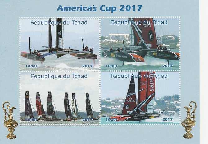 Chad 2017 America's Cup perf sheetlet containing 4 values unmounted mint. Note this item is privately produced and is offered purely on its thematic appeal. .