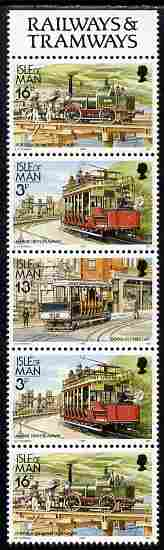 Isle of Man 1988-92 Manx Railways & Tramways booklet pane containing 16p-3p-13p-3p-16p unmounted mint SG 367a