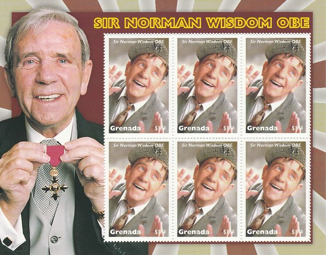 Grenada 2017 Sir Norman Wisdom OBE perf sheetlet containing 6 values unmounted mint