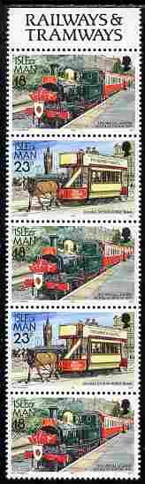 Isle of Man 1988-92 Manx Railways & Tramways booklet pane containing 18p-23p-18p-23p-18p unmounted mint SG 375ab