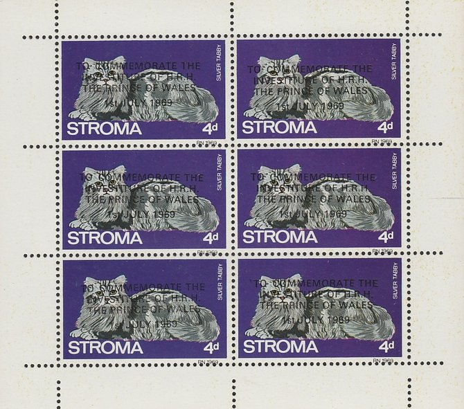 Stroma 1969 Cats 4d Silver Tabby opt'd for Investiture of Prince of Wales complete perf sheetlet of 6 unmounted mint