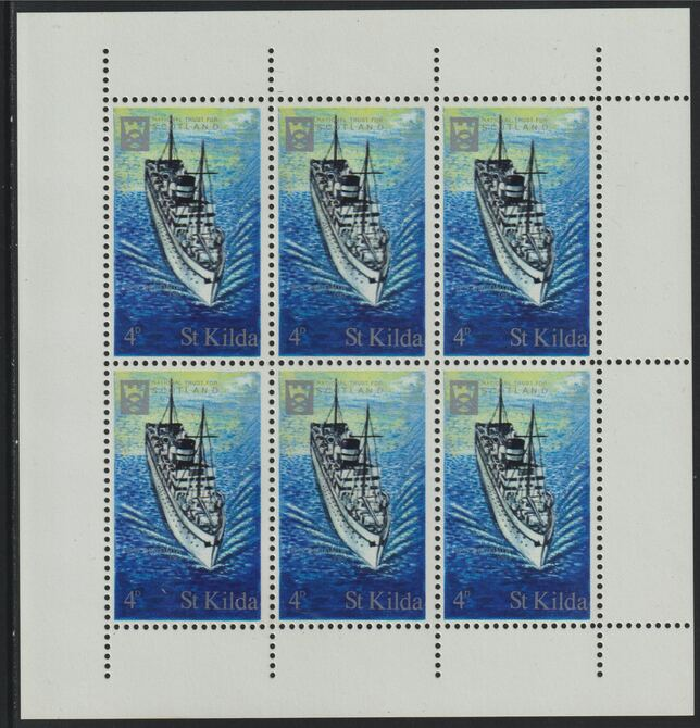 St Kilda 1971 Ships 4d SS Devonia complete perf sheetlet of 6 unmounted mint