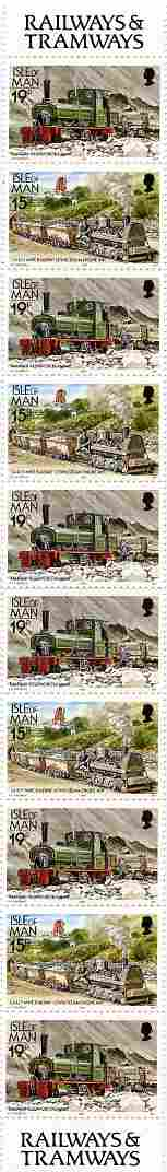 Isle of Man 1988-92 Manx Railways & Tramways booklet pane containing 15p x 4 & 19p x 6 unmounted mint SG 372b