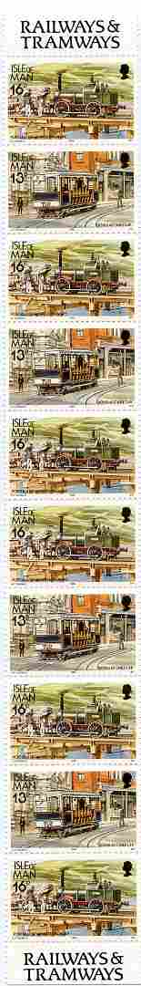 Isle of Man 1988-92 Manx Railways & Tramways booklet pane containing 13p x 4 & 16p x 6 unmounted mint SG 370a, stamps on railways, stamps on trams, stamps on transport