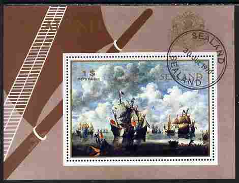 Sealand 1970 Paintings of ships $1 perf m/sheet fine cto used
