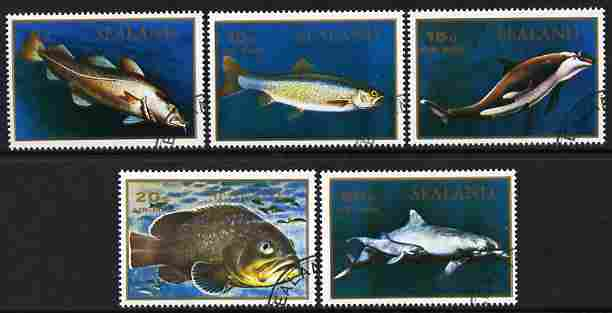 Sealand 1970 Fish perf set of 5 fine cto used