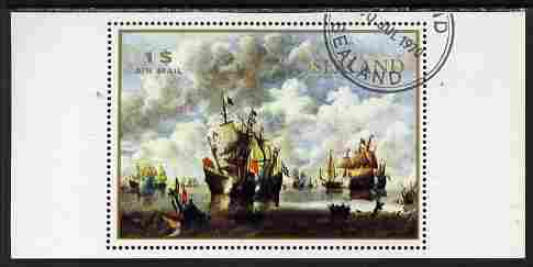 Sealand 1970 Paintings of ships $1 perf proof of m/sheet as issued but with white background, fine cto used