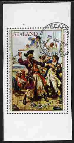 Sealand 1970 Admirals & Pirates $1 perf proof of m/sheet as issued but with white background, fine cto used