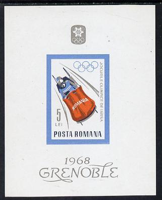 Rumania 1967 Grenoble Winter Olympics m/sheet (Bobsleigh) unmounted mint, SG MS3502, Mi BL 64