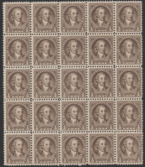 United States 1932 Washington 1/2c sepia impressive block of 25 (5x5)  unmounted mint, SG704
