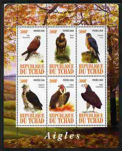 Chad 2010 Birds of Prey perf sheetlet containing 6 values unmounted mint