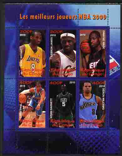 Congo 2010 The Best NBA Basketball Players of 2009 perf sheetlet containing 6 values unmounted mint