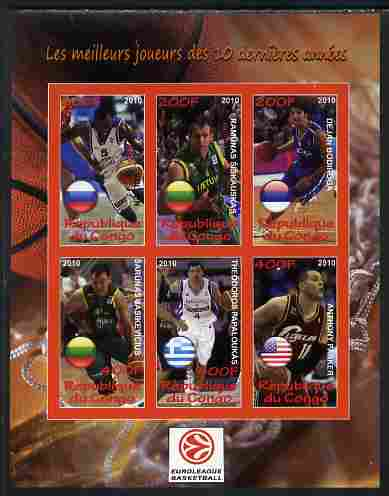 Congo 2010 The Best Euroleague Basketball Players of Decade imperf sheetlet containing 6 values unmounted mint