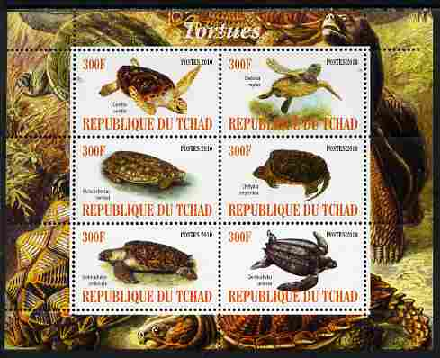 Chad 2010 Turtles perf sheetlet containing 6 values unmounted mint