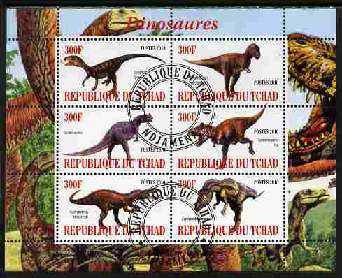 Chad 2010 Dinosaurs #1 perf sheetlet containing 6 values fine cto used