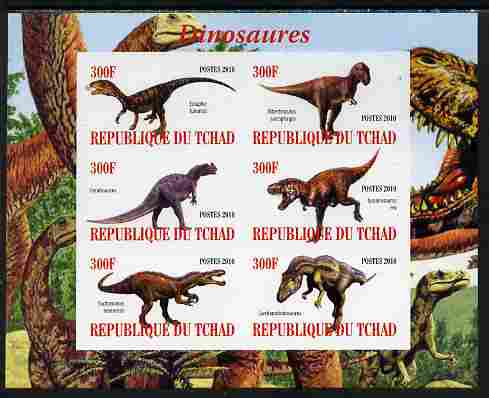 Chad 2010 Dinosaurs #1 imperf sheetlet containing 6 values unmounted mint