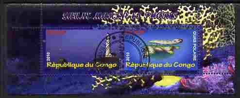 Congo 2010 Lighthouses & Marine Fauna #1 perf sheetlet containing 2 values fine cto used