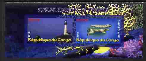 Congo 2010 Lighthouses & Marine Fauna #1 imperf sheetlet containing 2 values unmounted mint