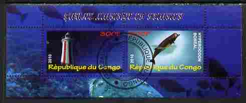 Congo 2010 Lighthouses & Marine Fauna #2 perf sheetlet containing 2 values fine cto used