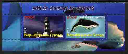 Congo 2010 Lighthouses & Marine Fauna #3 perf sheetlet containing 2 values unmounted mint
