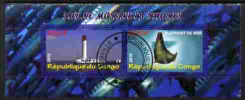 Congo 2010 Lighthouses & Marine Fauna #4 perf sheetlet containing 2 values fine cto used