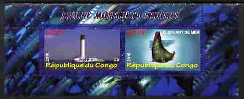 Congo 2010 Lighthouses & Marine Fauna #4 perf sheetlet containing 2 values unmounted mint