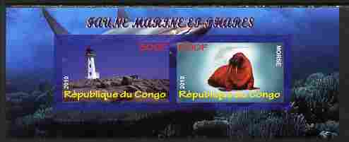 Congo 2010 Lighthouses & Marine Fauna #5 imperf sheetlet containing 2 values unmounted mint