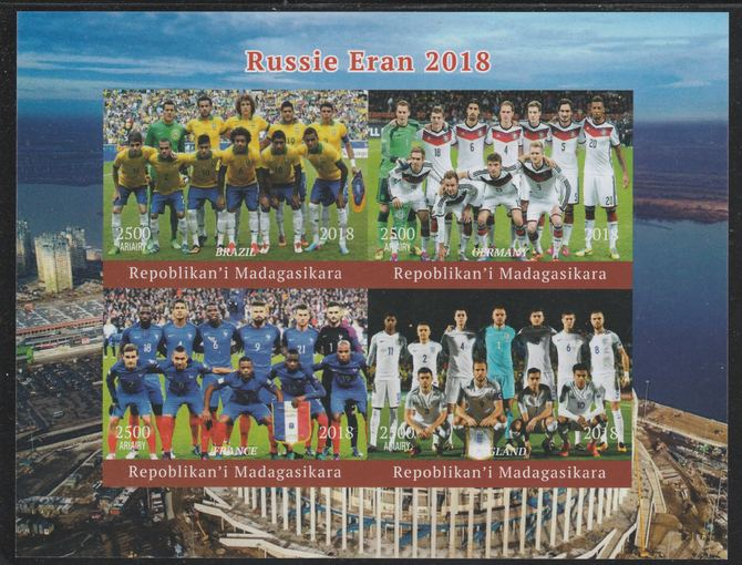 Madagascar 2018 Football World Cup - (Brazil, Germany, France & England) imperf sheetlet containing 4 values unmounted mint. Note this item is privately produced and is offered purely on its thematic appeal.