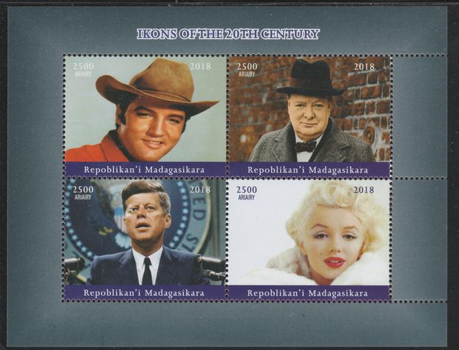 Madagascar 2018 Icons of 20th Century (Elvis, Churchill, Kennedy & Marilyn) perf sheetlet containing 4 values unmounted mint. Note this item is privately produced and is offered purely on its thematic appeal.
