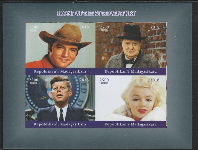 Madagascar 2018 Icons of 20th Century (Elvis, Churchill, Kennedy & Marilyn) imperf sheetlet containing 4 values unmounted mint. Note this item is privately produced and is offered purely on its thematic appeal.