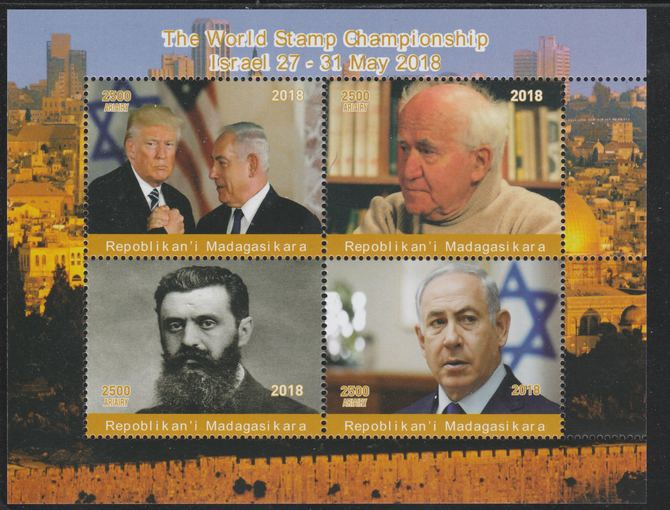 Madagascar 2018 World Stamp Championship (Trump & Ben Guirion) perf sheetlet containing 4 values unmounted mint. Note this item is privately produced and is offered purely on its thematic appeal.