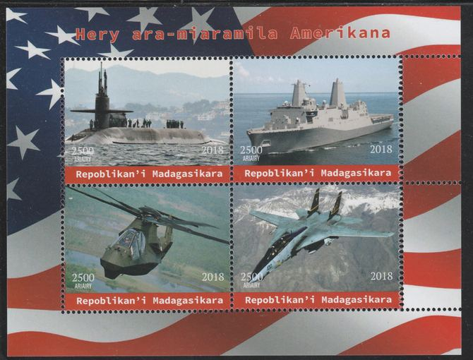 Madagascar 2018 American Military (Submarine,Cruiser, Helicopter & Jet) perf sheetlet containing 4 values unmounted mint. Note this item is privately produced and is offered purely on its thematic appeal.