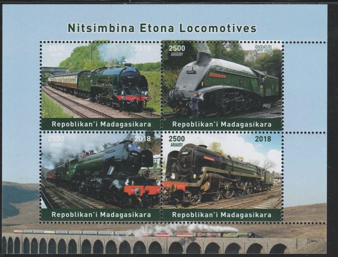 Madagascar 2018 Steam Locomotives perf sheetlet containing 4 values unmounted mint. Note this item is privately produced and is offered purely on its thematic appeal.