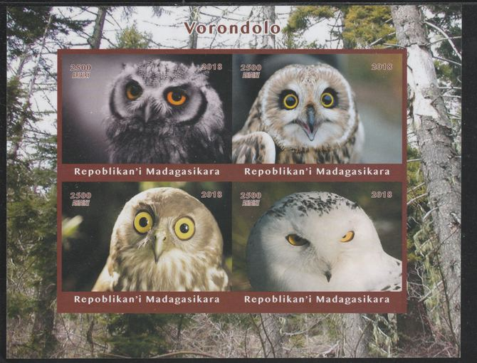 Madagascar 2018 Owls imperf sheetlet containing 4 values unmounted mint. Note this item is privately produced and is offered purely on its thematic appeal.