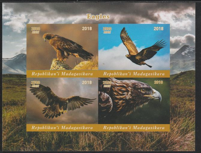 Madagascar 2018 Birds of Prey imperf sheetlet containing 4 values unmounted mint. Note this item is privately produced and is offered purely on its thematic appeal.