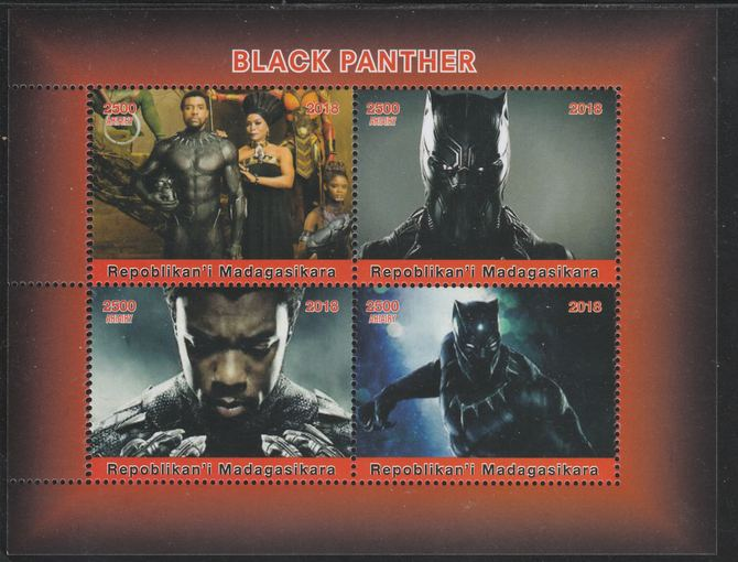 Madagascar 2018 Black Panther perf sheetlet containing 4 values unmounted mint. Note this item is privately produced and is offered purely on its thematic appeal.