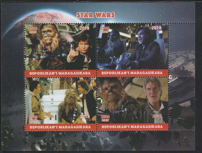 Madagascar 2018 Star Wars perf sheetlet containing 4 values unmounted mint. Note this item is privately produced and is offered purely on its thematic appeal.