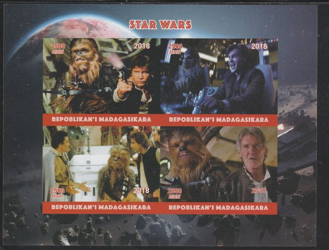 Madagascar 2018 Star Wars imperf sheetlet containing 4 values unmounted mint. Note this item is privately produced and is offered purely on its thematic appeal.