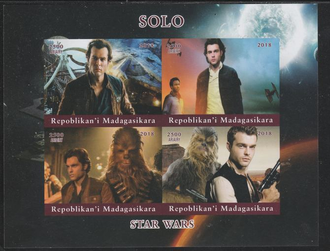 Madagascar 2018 Star Wars - Solo imperf sheetlet containing 4 values unmounted mint. Note this item is privately produced and is offered purely on its thematic appeal.