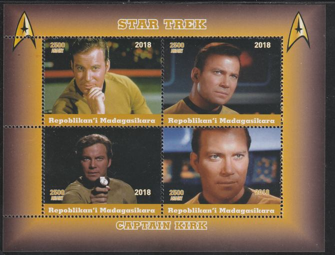 Madagascar 2018 Star Trek - Captain Kirk perf sheetlet containing 4 values unmounted mint. Note this item is privately produced and is offered purely on its thematic appeal.