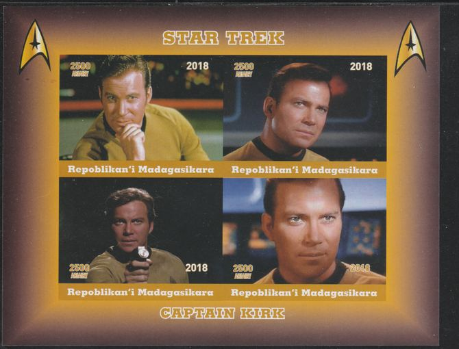 Madagascar 2018 Star Trek - Captain Kirk imperf sheetlet containing 4 values unmounted mint. Note this item is privately produced and is offered purely on its thematic appeal.